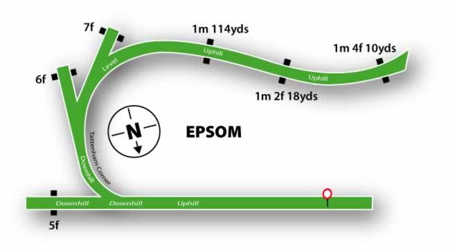 Epsom Downs horseshoe saped racetrack